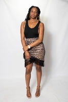 leopard print pencil skirt with black fringe