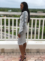 gray crew neck bodycon knee length dress
