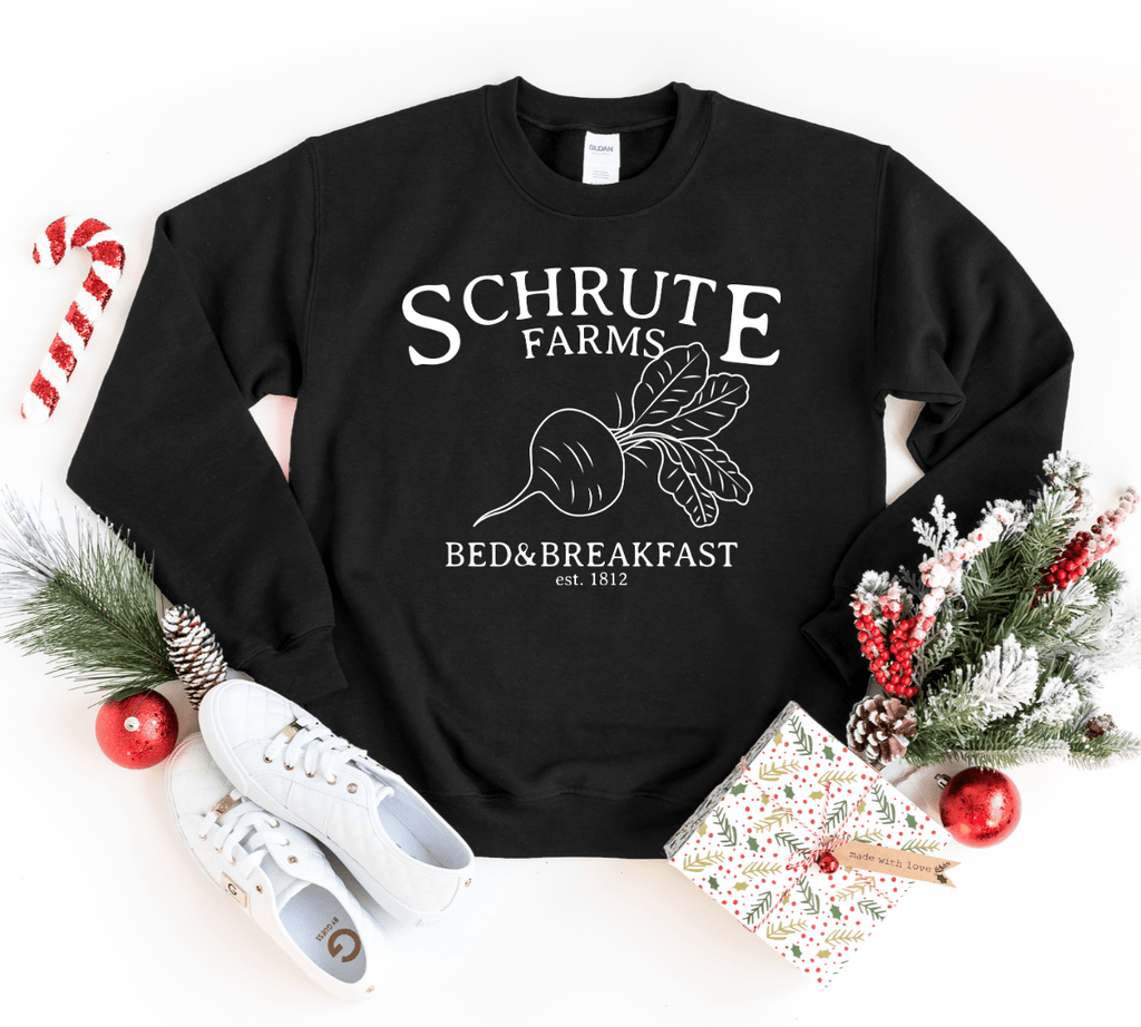 Schrute Farms Sweatshirt Pullover Sweater,  Dunder Mifflin T-Shirt, The Office Sweater, Dwight Schrute, Michael Scott, Jim Halpert - Funkyappareltees