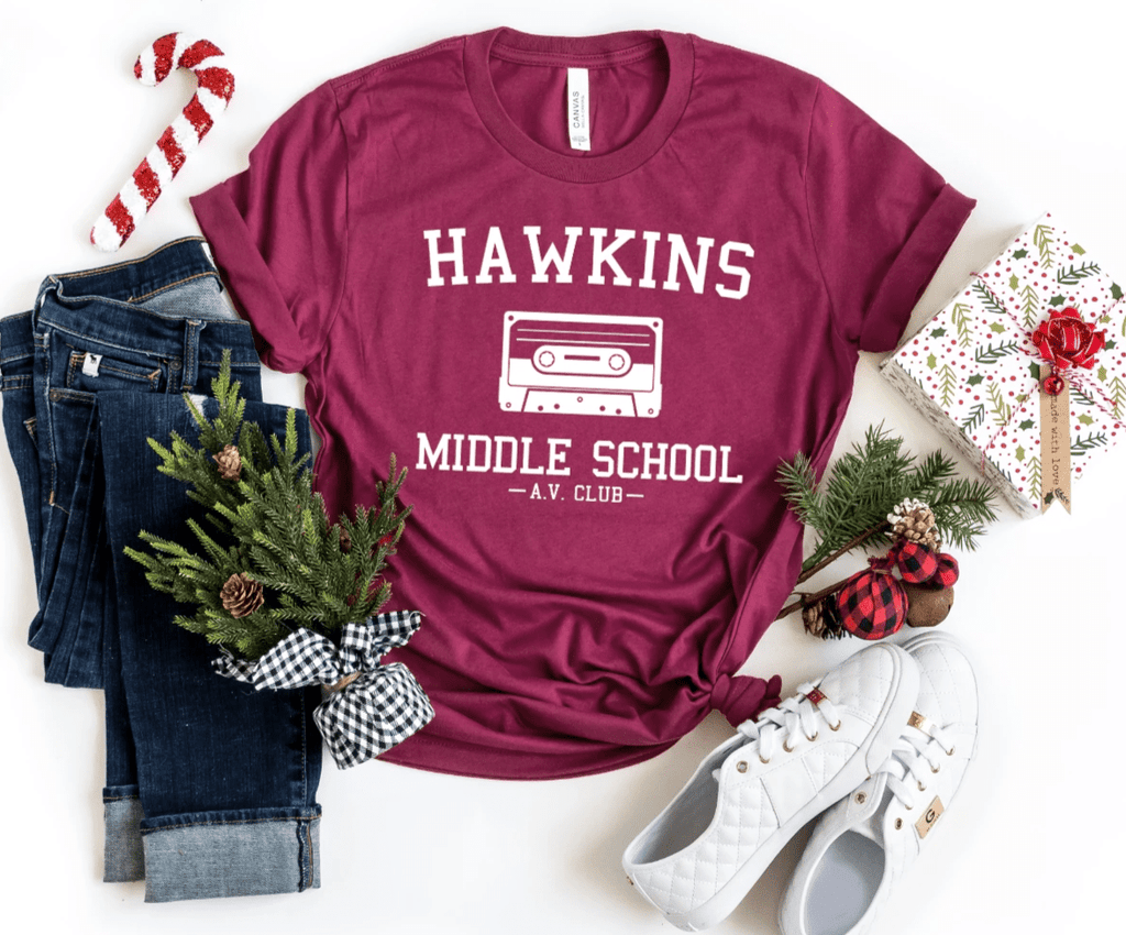 Hawkins Middle School Stranger Things Shirt Tee Top , Hawkins Shirt Tee Top, The Upside Down T Shirt Tee Top, - Funkyappareltees