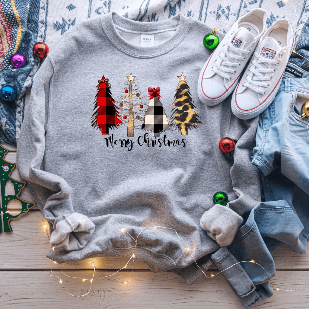 Merry Christmas Plaid Leopard Trees Sweater