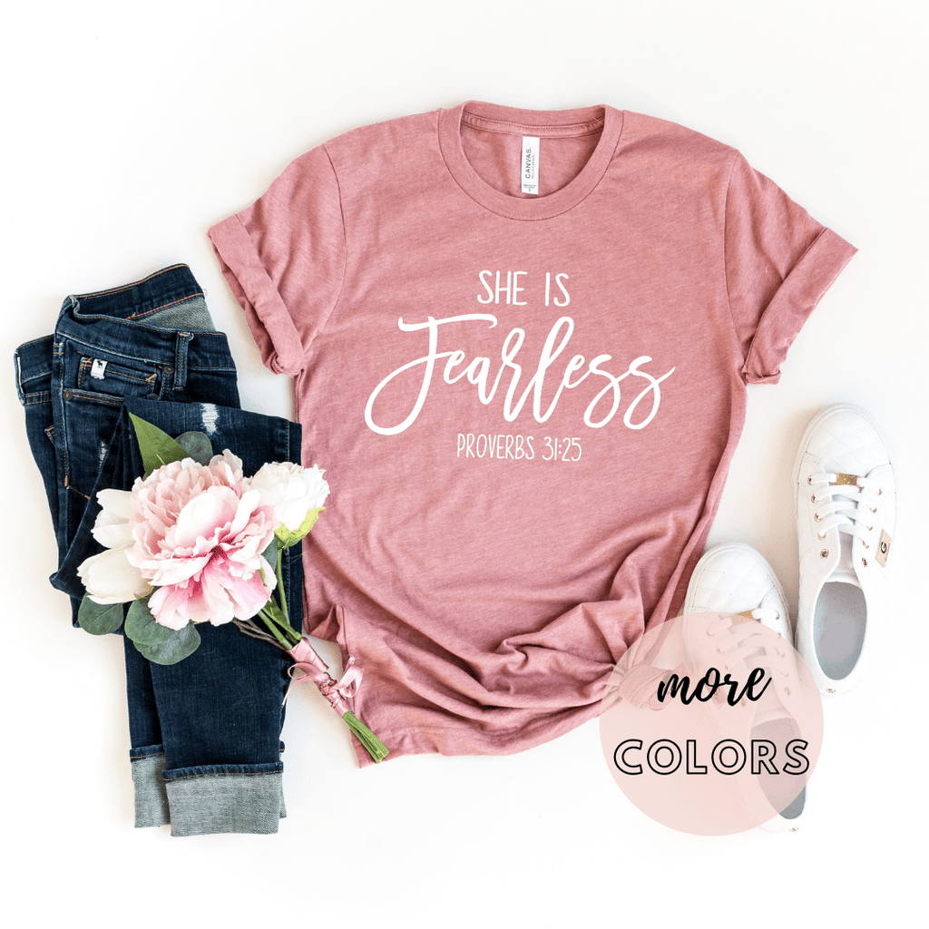 She Is Fearless Christian Shirt, Christianity T shirts Clothing,Jesus T Shirts, Religious Shirts for Women - Funkyappareltees