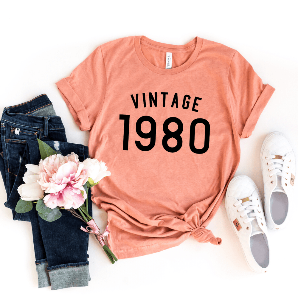 40th Birthday Shirt Ideas Vintage 1980 Birthday Shirt, Turning 40 Shirt, 40th Birthday Gifts Party Ideas For Women Men Shirts For Her, Gift for man - Funkyappareltees