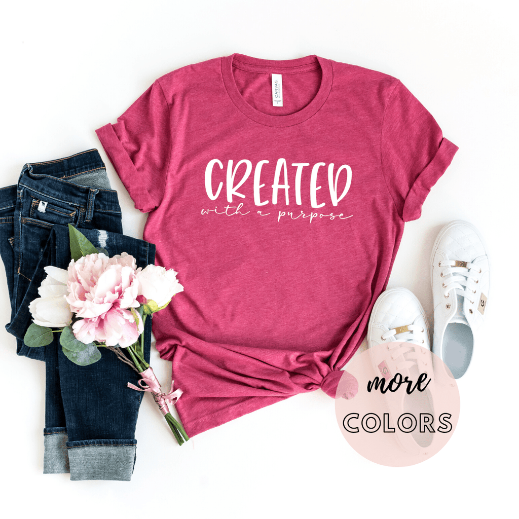 Created With A Purpose Christian Shirt, Christianity T shirts Clothing, Jesus T Shirts, Religious Shirts for Women - Funkyappareltees