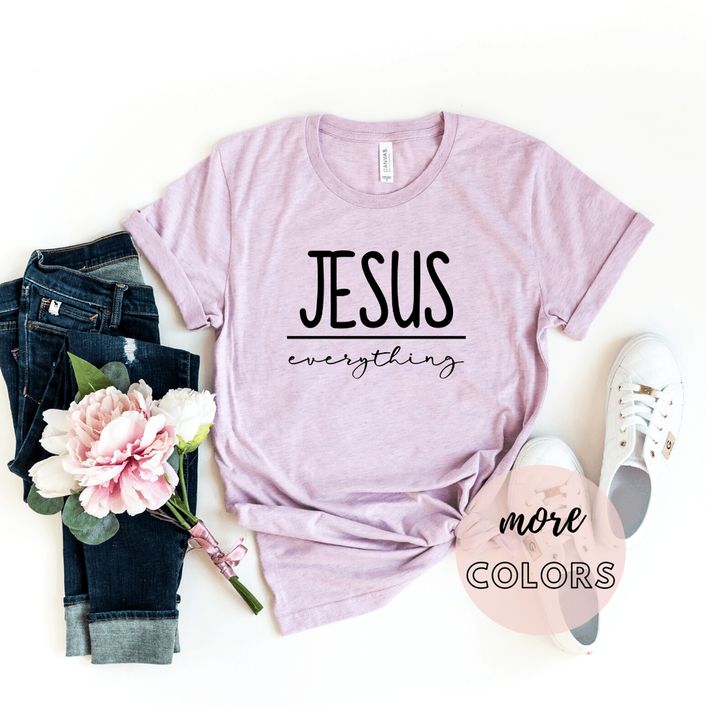Jesus Over Everything Christian Shirt,  Christianity T shirts Clothing, Jesus T Shirts, Religious Shirts for Women - Funkyappareltees