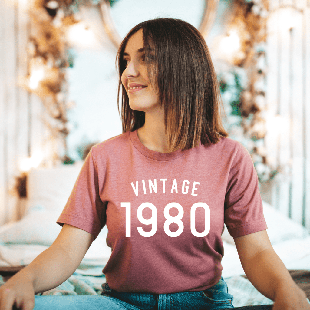 Vintage 1980 Birthday Shirt, 40th Birthday Gifts Party Ideas For Women Men Shirts For Her, Gift for man , 40th Birthday
