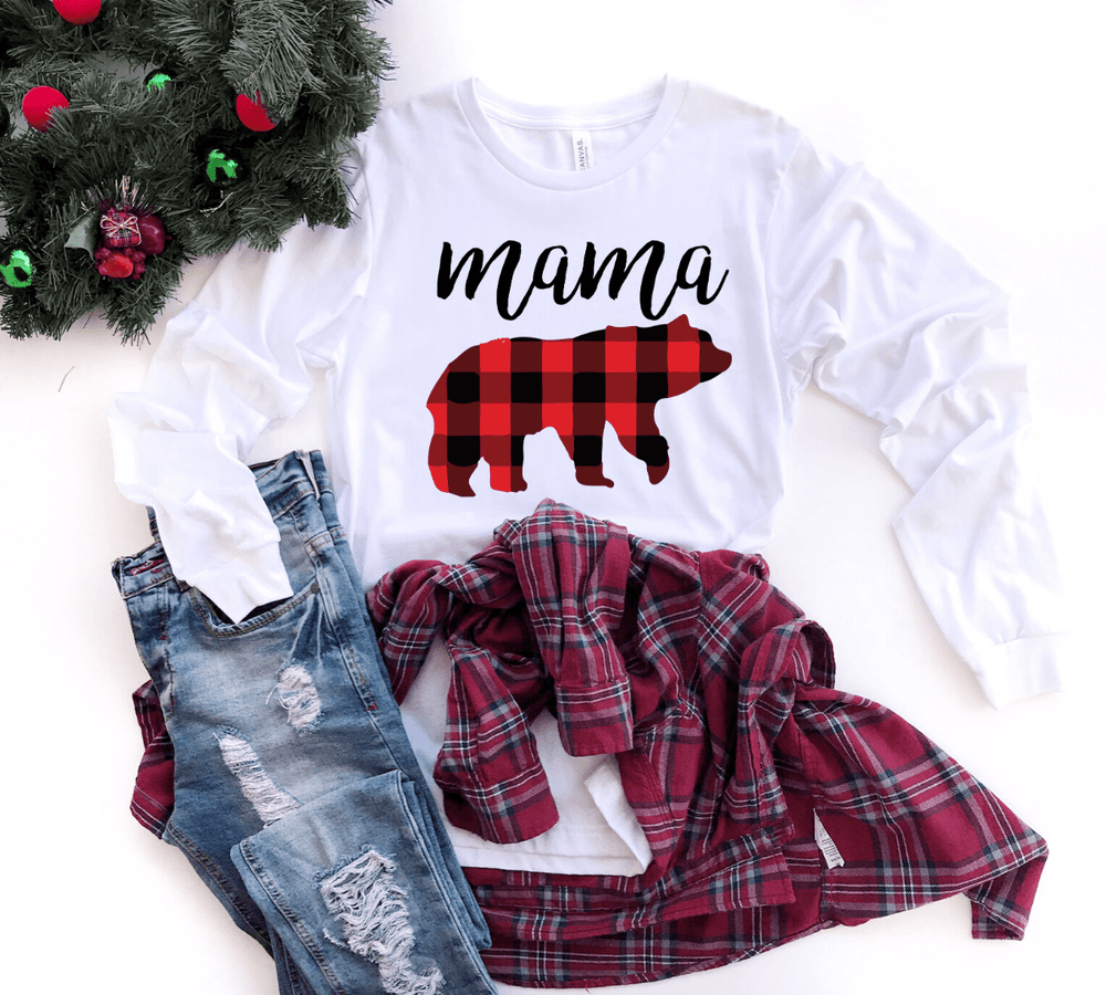 Plaid Mama Bear Christmas Shirt, Buffalo Plaid Christmas Shirts, Long Sleeve - Funkyappareltees