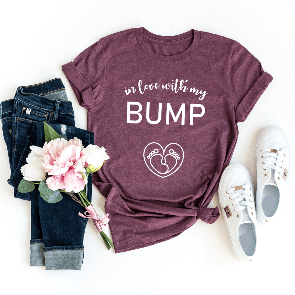 In Love With My Bump Shirt, Valentines Day Pregnancy Announcement Gift Shirt, Valentines Gifts for him her girlfriend, Valentines Day - Funkyappareltees