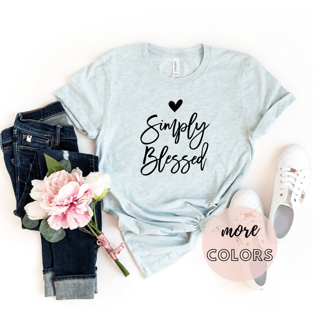 Simply Blessed Christian Shirt, Christianity T shirts Clothing, Jesus T Shirts, Religious Shirts for Women - Funkyappareltees