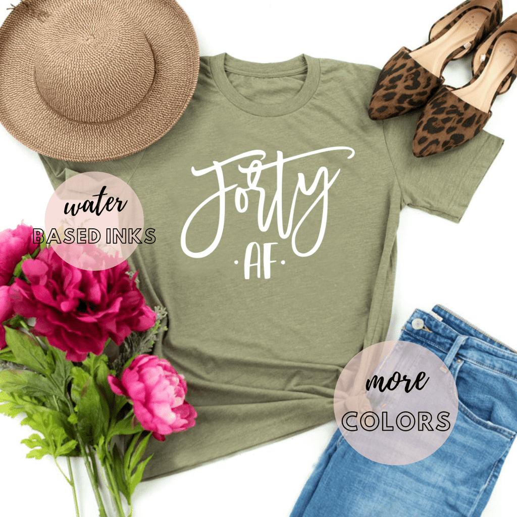 Forty AF 40th Birthday Shirt, , 40th Birthday Gifts Party Ideas For Women Men Shirts For Her - Funkyappareltees