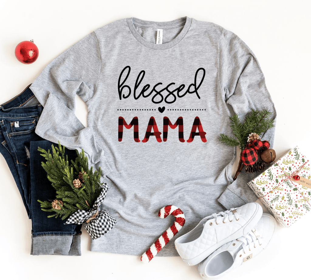Blessed Mama Plaid Long Sleeve T-Shirt