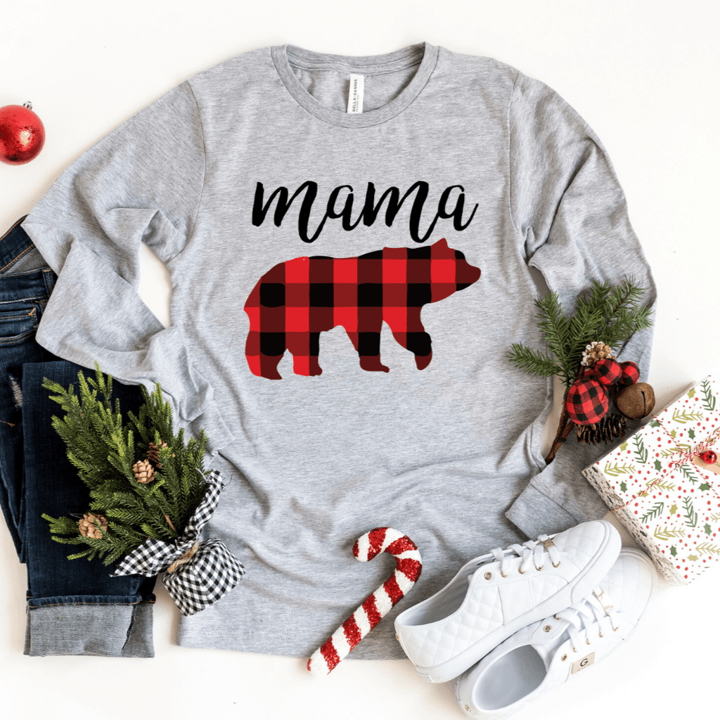 Plaid Mama Bear Christmas Shirt, Buffalo Plaid Christmas Shirts, Long Sleeve