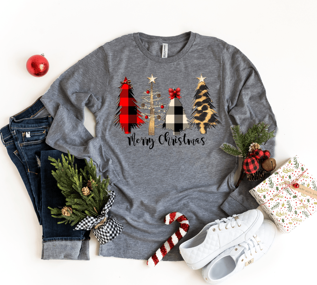Merry Christmas Plaid Leopard Trees Long Sleeve