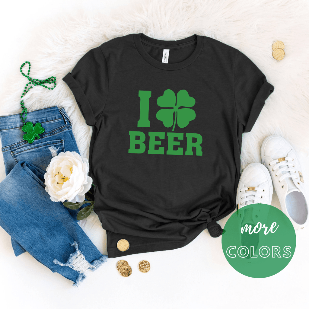 I Love Beer Shamrock St Patricks Day Shirt, Shamrock shirt, Irish T Shirt. St Patricks Day Shirt Women - Funkyappareltees