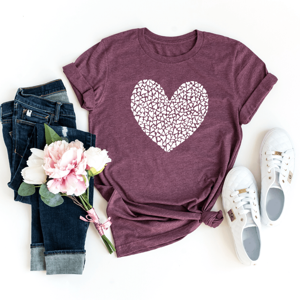 White Heart Valentines Day Gift Shirt, Valentines Gifts for him her girlfriend, Valentines Day - Funkyappareltees