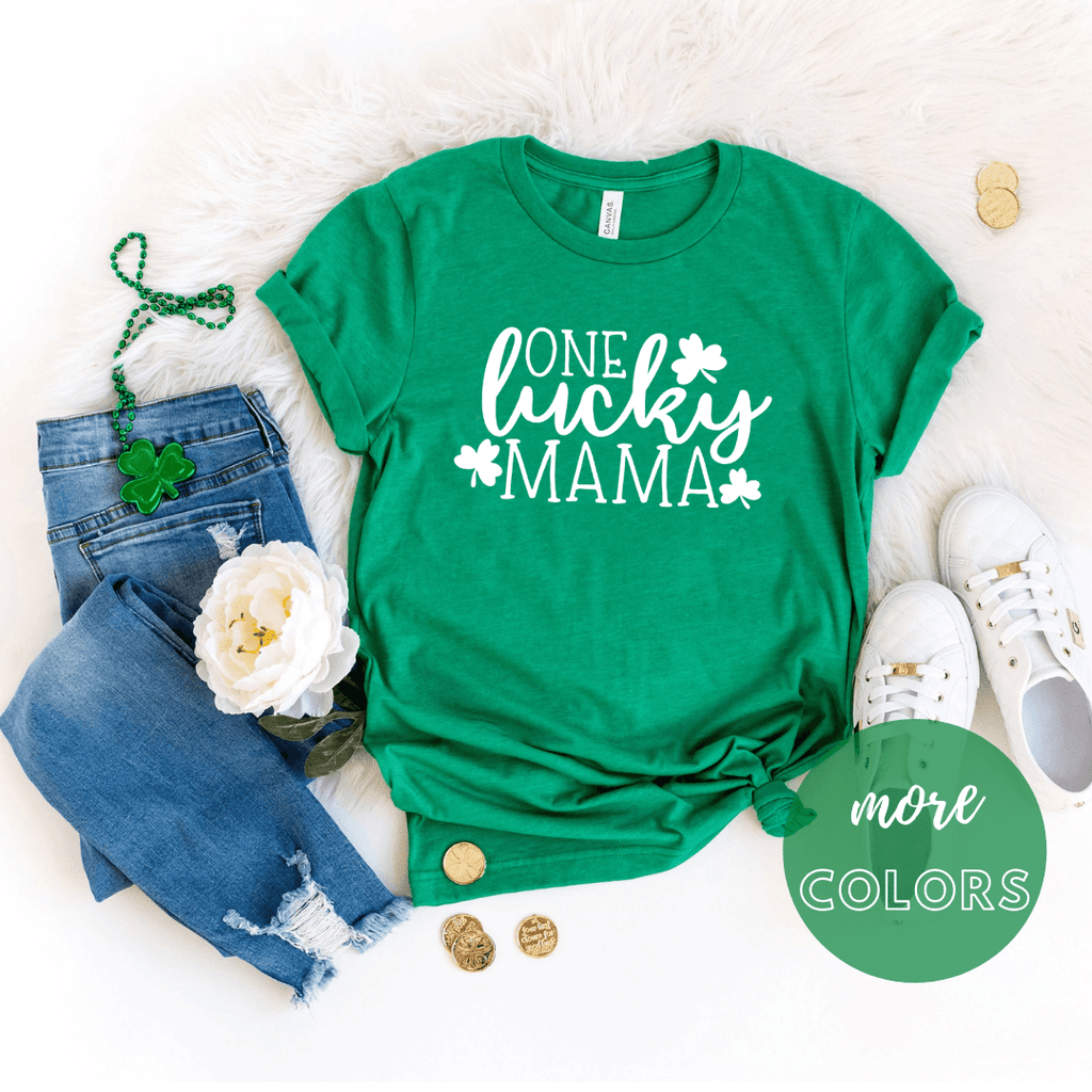 One Lucky Mama St patrick day shirt, Shamrock shirt, Irish T Shirt. St Patricks Day Shirt Women - Funkyappareltees