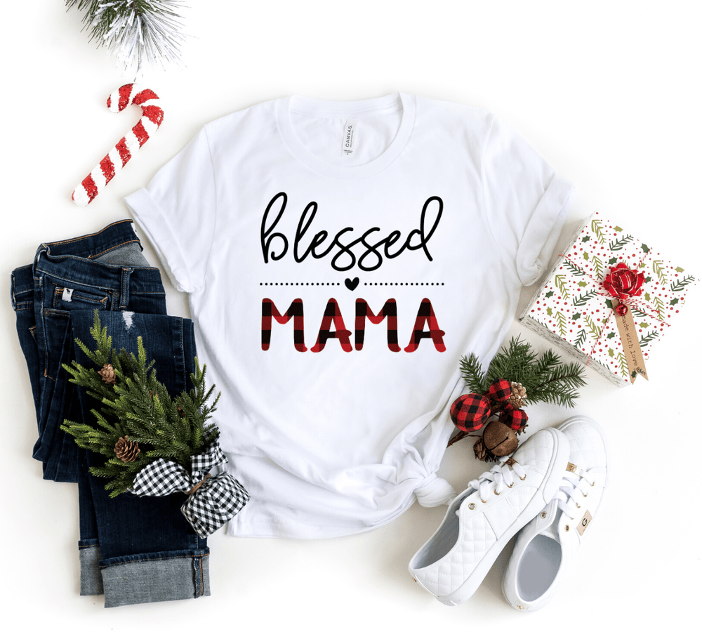 Blessed Mama Buffalo Plaid Shirt , Plaid Christmas Shirt, Christmas Shirt For Mom, Mom Christmas Shirts - Funkyappareltees