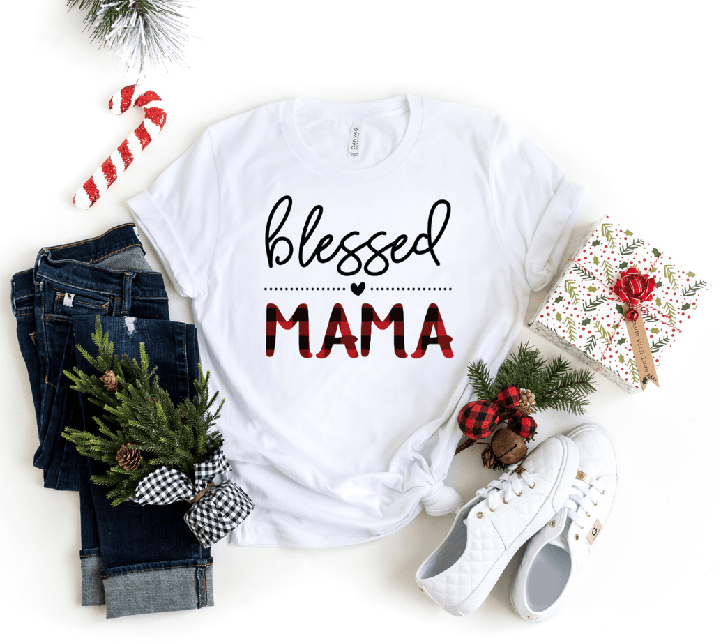 Blessed Mama Buffalo Plaid Shirt , Plaid Christmas Shirt, Christmas Shirt For Mom, Mom Christmas Shirts