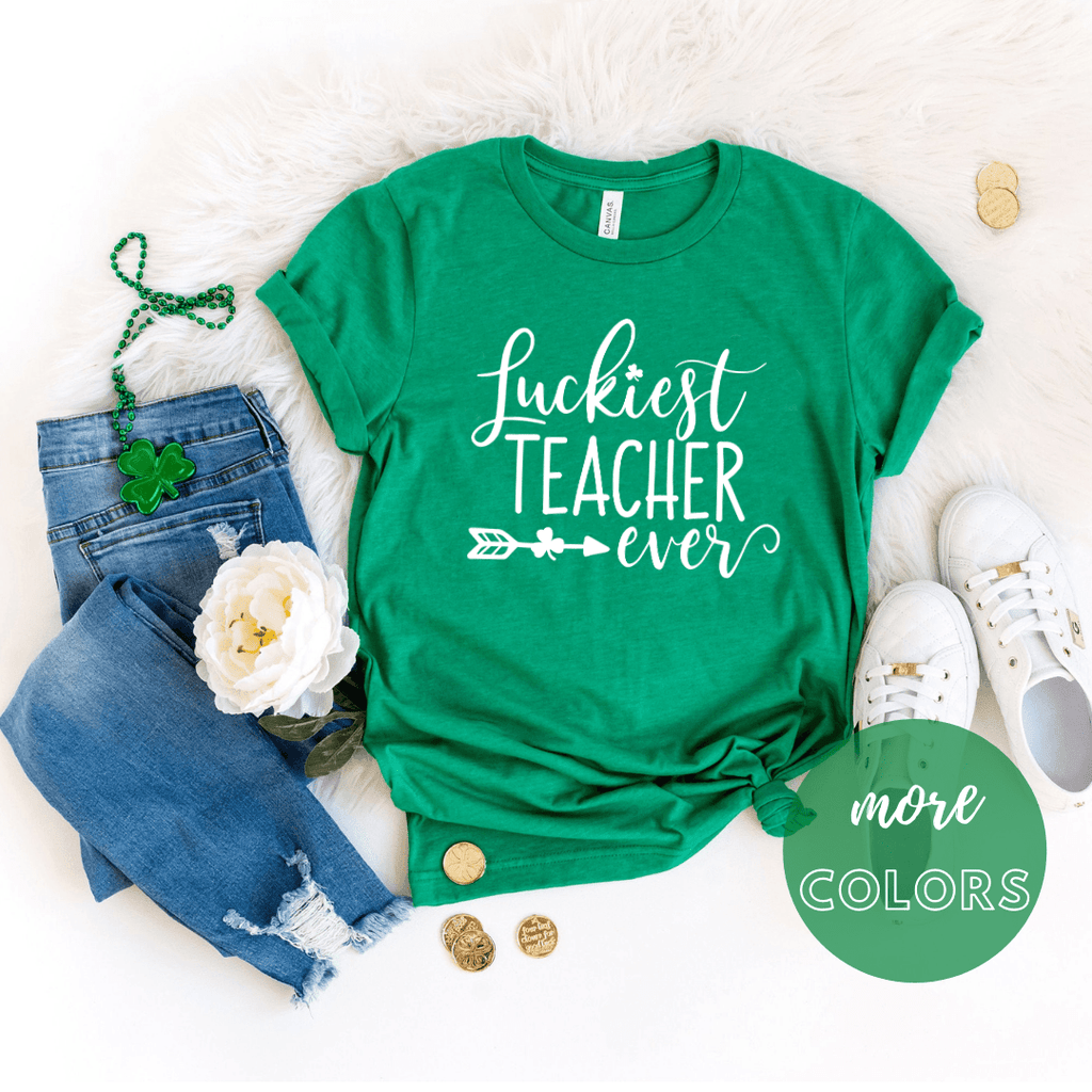 Luckiest Teacher Ever T Shirt, St Patricks Day Shirt - Funkyappareltees