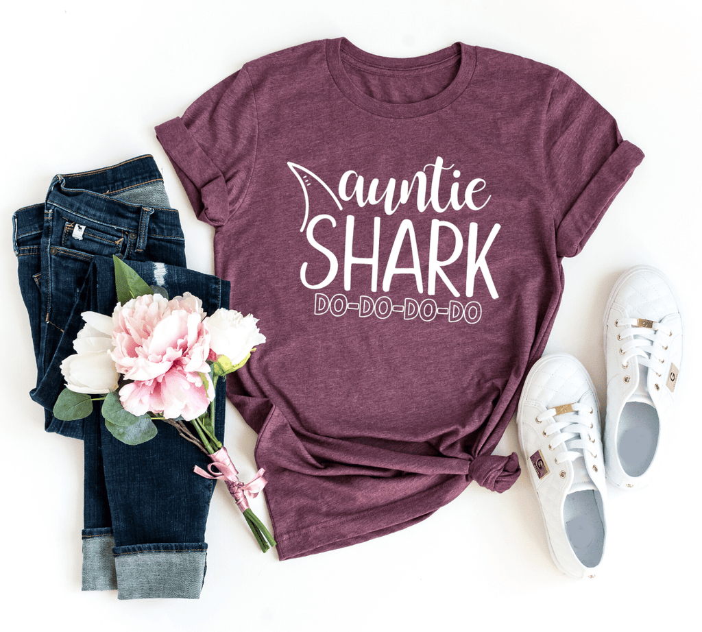 Auntie Shark Shirt, Auntie Shirt, Aunt Shirts, Shark Birthday Party Shirts Gifts Ideas, Shark Family Shirts, - Funkyappareltees