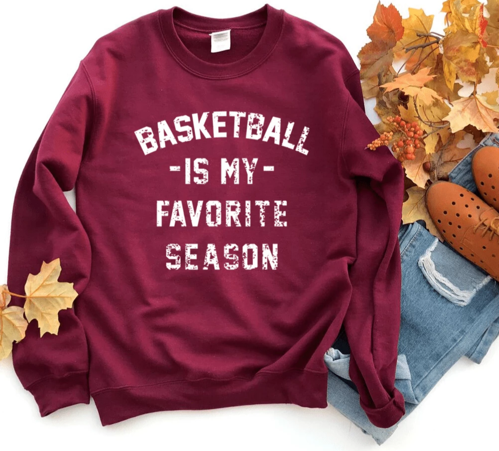 Basketball is my Favorite Season Sweatshirt Sweater,  Basketball Mom Shirt, Vintage, Unisex Sweatshirt, Sports, Beer, Tailgating, Wine, NBA - Funkyappareltees