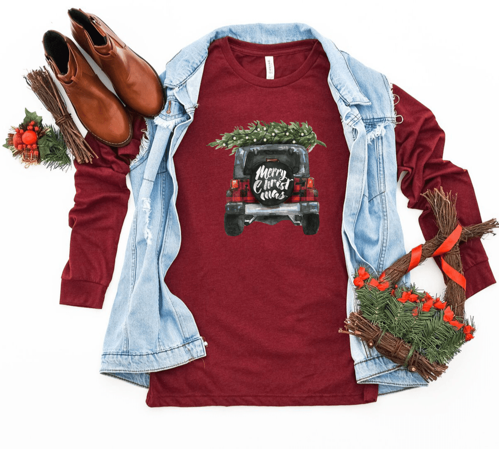 Buffalo Plaid Shirt , Jeep Shirt, Jeep, Christmas Shirts, Merry Christmas Shirt, Christmas Gift, Jeeps, Jeep Wrangler - Funkyappareltees