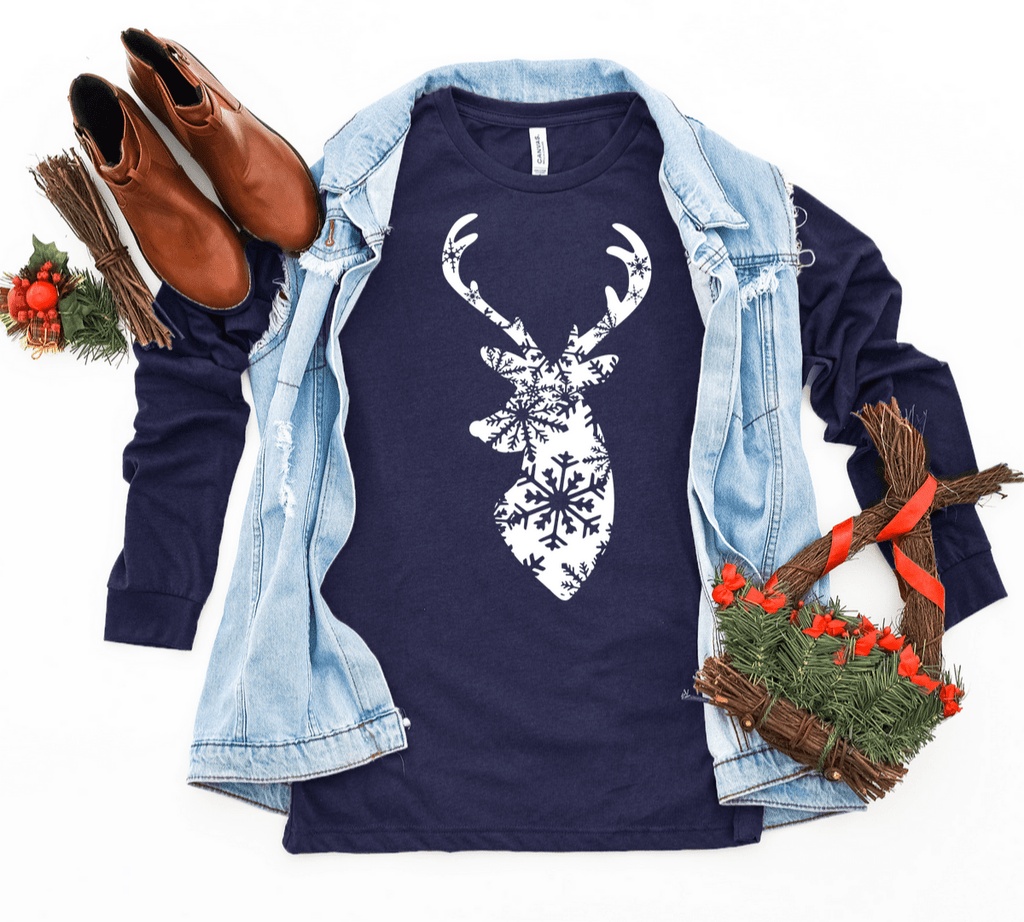 Christmas T Shirt, Christmas Deer Shirt , Stag Deer Shirt , Cute Christmas Shirt , Women's Deer Shirt, Christmas Graphic Tee - Funkyappareltees