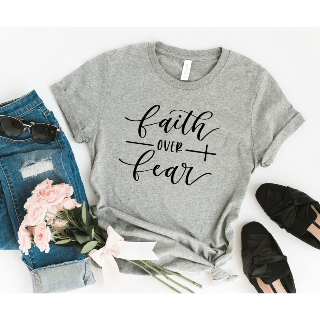 Christian Shirts For Women, Faith Over Fear Shirt, Christian T Shirts , Christian Tee Shirts, Religious Shirt For Women, Faith Shirts - Funkyappareltees