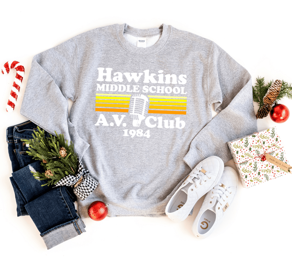 Hawkins Av Club Sweatshirt, Stranger Things Shirt Inspired , Hawkins Shirt, Hawkins Middle School, The Upside Down - Funkyappareltees