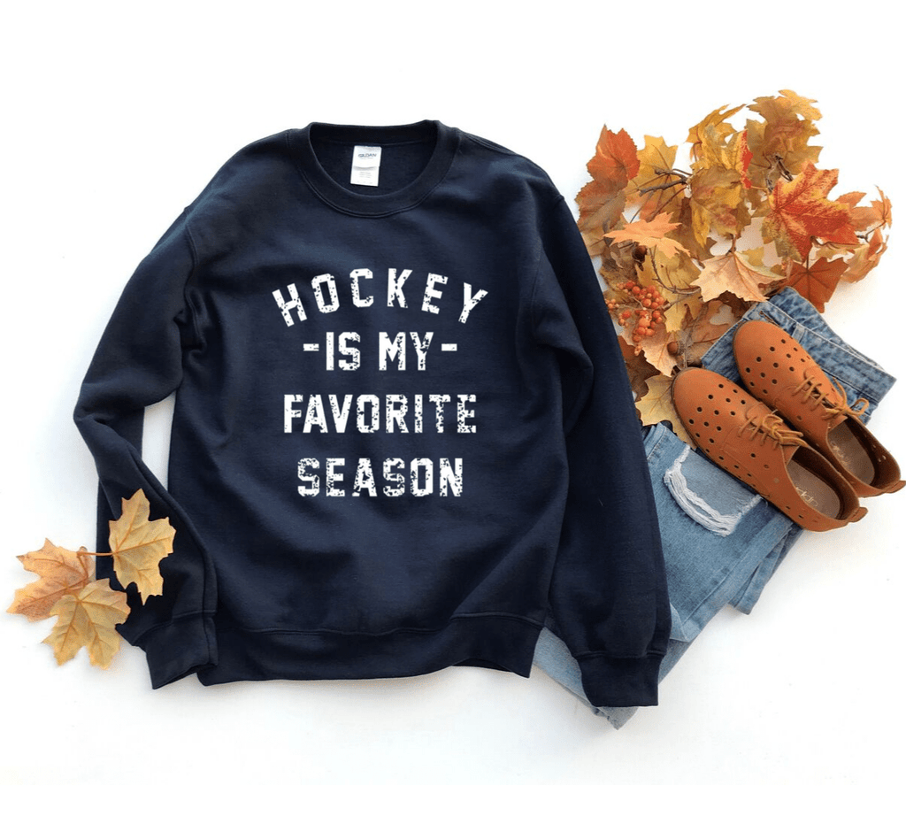 Hockey is my Favorite Season Sweatshirt, Hockey Sweatshirt, Hockey Mom Apparel, Vintage, Women's Hockey Sweatshirt, Sports, Tailgating, Wine, Sunday, NHL - Funkyappareltees