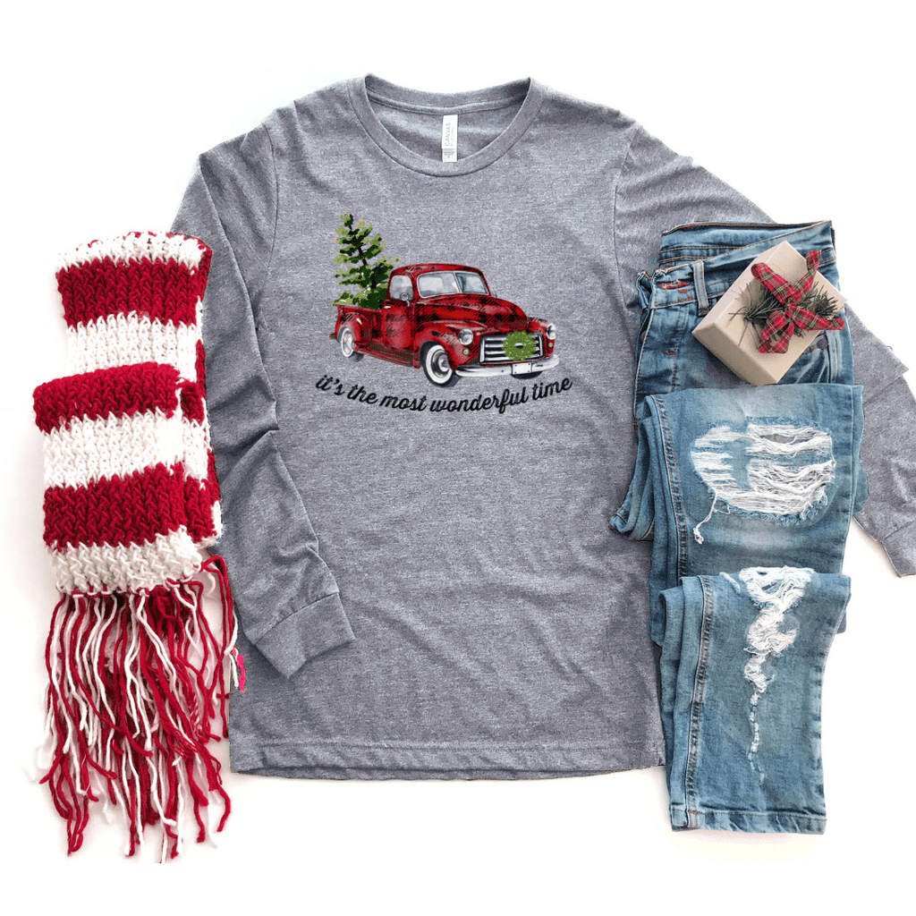 Its The Most Wonderful Time Of The Year Plaid Christmas Truck Long Sleeve T-Shirt - Funkyappareltees