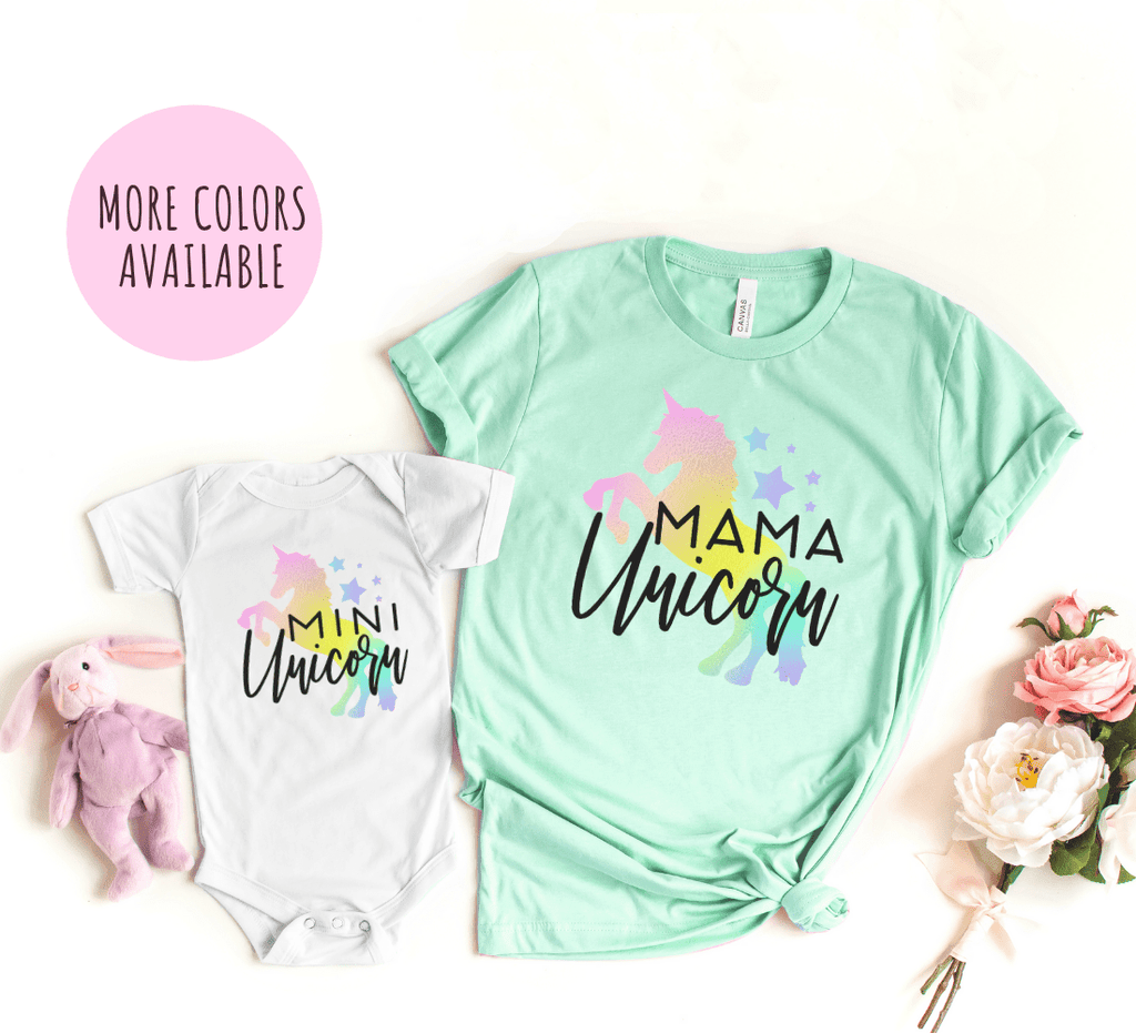 Mommy and Me Outfits Shirts Matching, Unicorn Birthday Party Shirt For Girl Adult, Mom and Me,  Unicorn Theme Shirt - Funkyappareltees