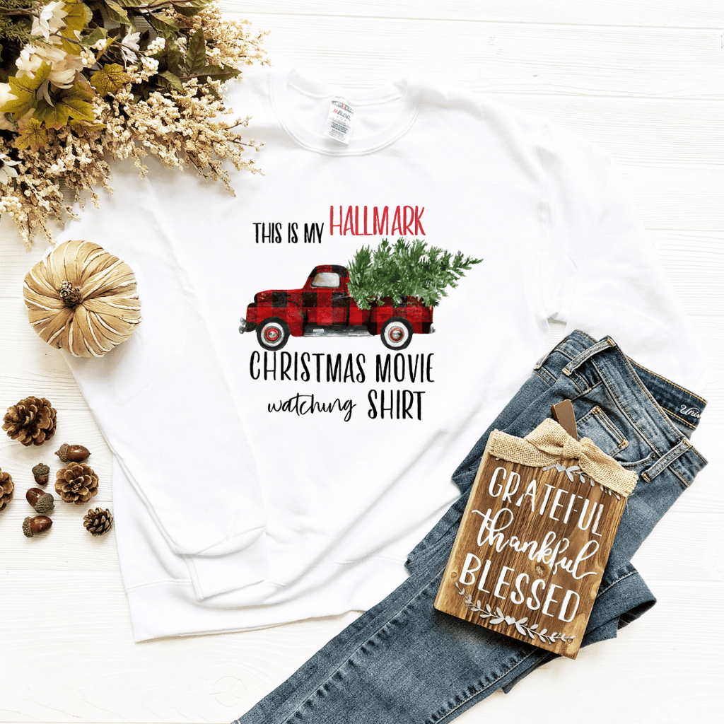 Hallmark Channel Inspired Sweatshirt, This is my Hallmark Christmas movie watching shirt sweatshirt Sweater, Christmas Tree Shirt, Christmas Movies - Funkyappareltees