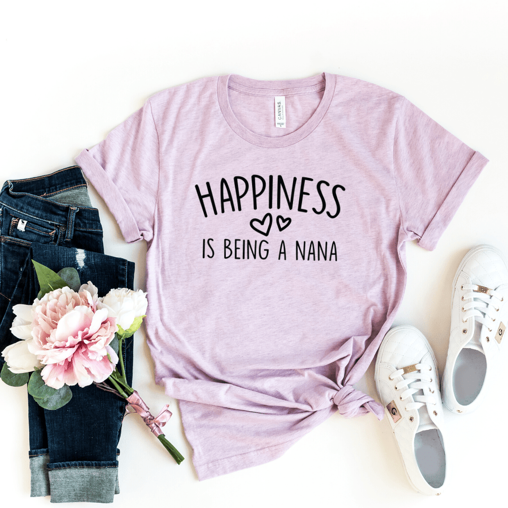 Happiness Is Being a Nana Shirt, Grandparent Gifts, Grandma Gift, Christmas Gift for Grandma, Pregnancy Announcement Grandparents Shirts, Nana Shirt, Grandma Shirt, Mimi Shirt, Heather Prism Lilac