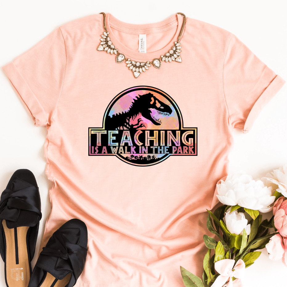 Teacher Shirts Jurassic Park, Teaching Is A Walk In The Park Shirt