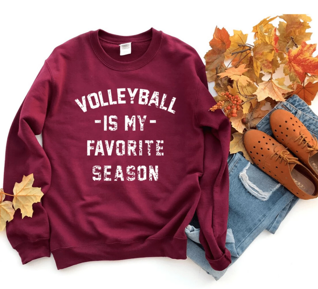 Volleyball is my Favorite Season Sweatshirt Sweater Tops, Volleyball Mom Shirt, Vintage, Unisex Sweatshirt, Women's, Sports, Athletes, High School - Funkyappareltees