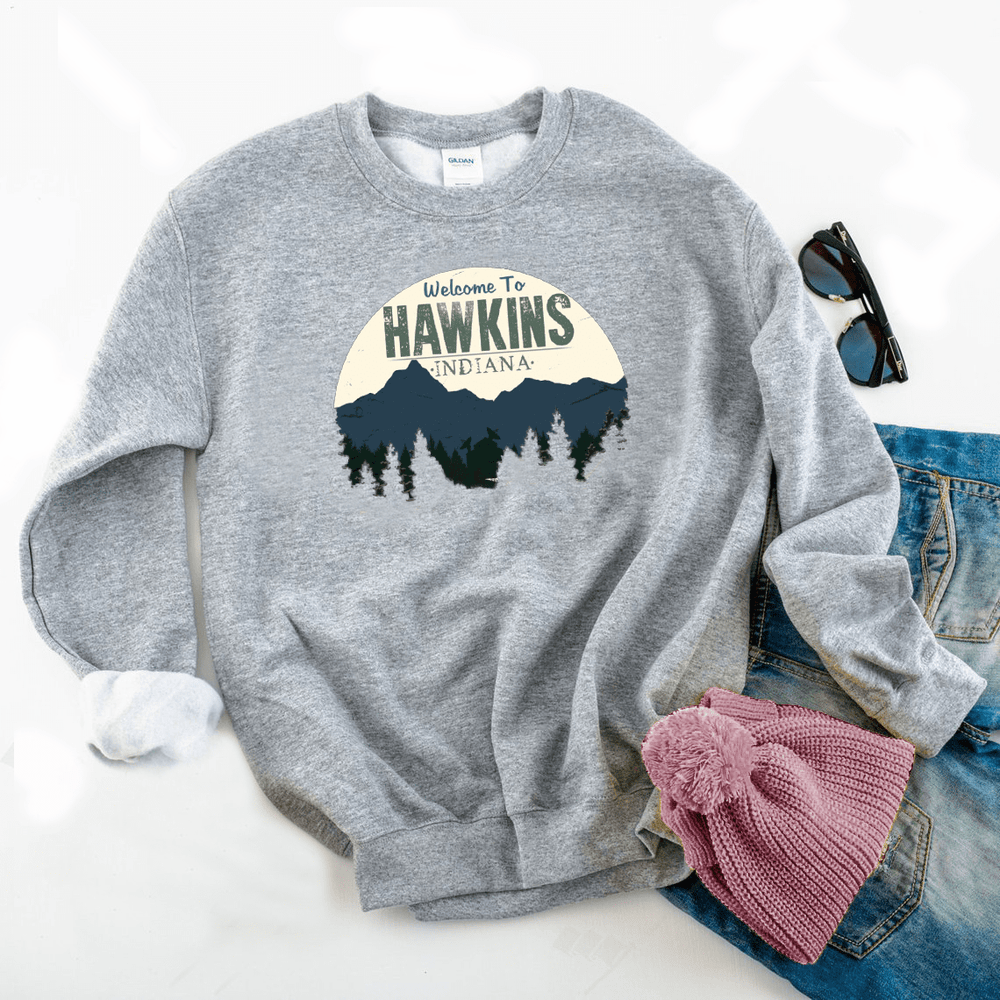Welcome To Hawkins Graphic Sweatshirt - Funkyappareltees