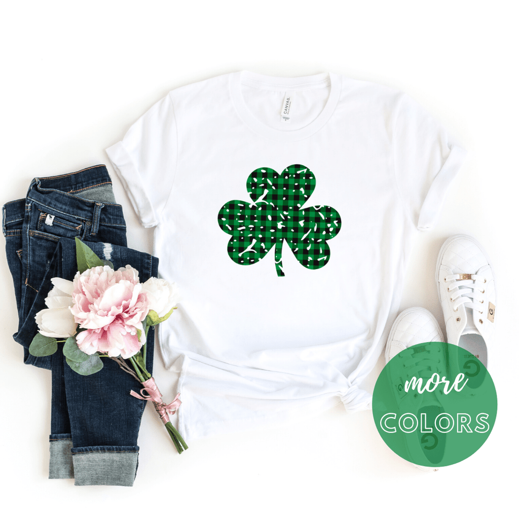 Buffalo Plaid Grunge Clover St patrick day shirt, Shamrock shirt, Irish T Shirt. St Patricks Day Shirt Women - Funkyappareltees