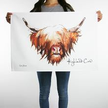 clare baird highland cow tea towel