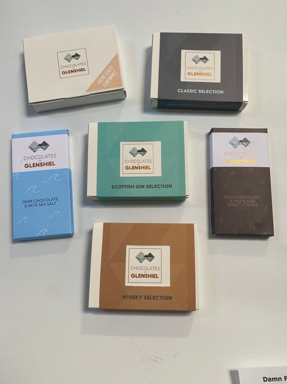 SCOTTISH GIN SELECTION CHOCOLATES  BY CHOCOLATES OF GLENSHIEL