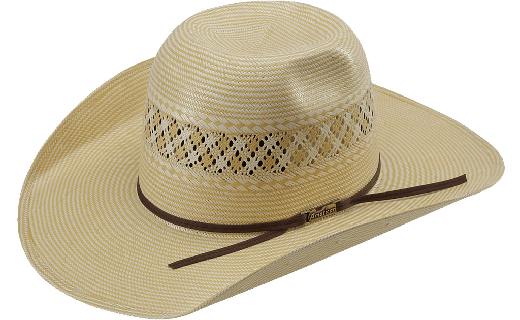 American Hat Co 1022 2X2 Two-Tone Vented Shantung Straw Hat - Tan