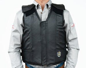 Ride Right 1200 Series Adult Rodeo Vest - Leather Front