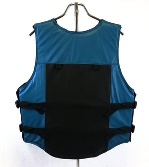 Ride Right 1200 Series Adult Leather Rodeo Vest - Two Tone Black and Turquoise Back