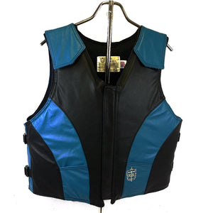 Ride Right 1200 Series Adult Leather Rodeo Vest - Two Tone Black and Turquoise