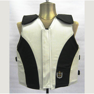 Ride Right 1200 Series Adult Leather Rodeo Vest - Two Tone White and Black