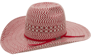 American Hat Co 2010 Fancy Vent Two-Tone Straw Hat - Red/Ivory