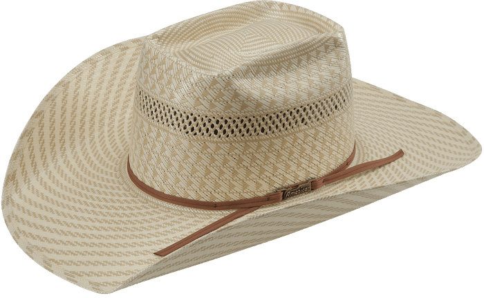 American Hat Co 6100 Swirl Vented Straw Hat - Tan/White