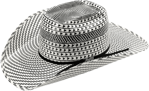 American Hat Co 6110 Fancy Weave and Vent Straw Hat - Ivory/Black