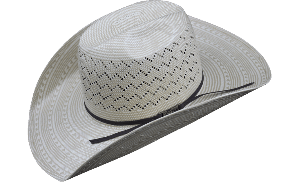 American Hat Co 6200 Fancy Weave and Vent Straw Hat - Ivory/Tan