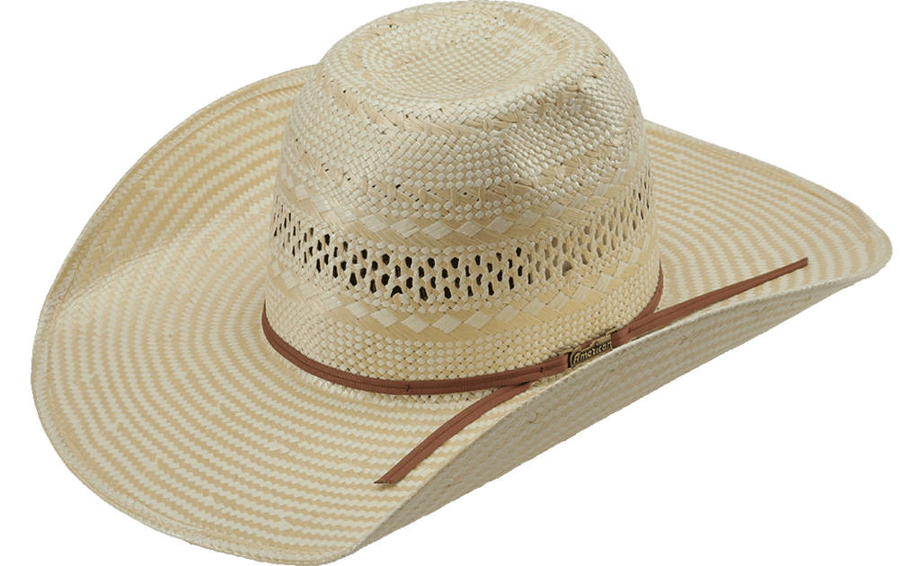 American Hat Co 845 Poli Rope Fancy Weave Neck Vented Straw Hat